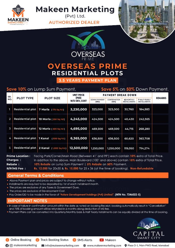 Capital Smart City Overseas Prime Block | Limited Plots Left