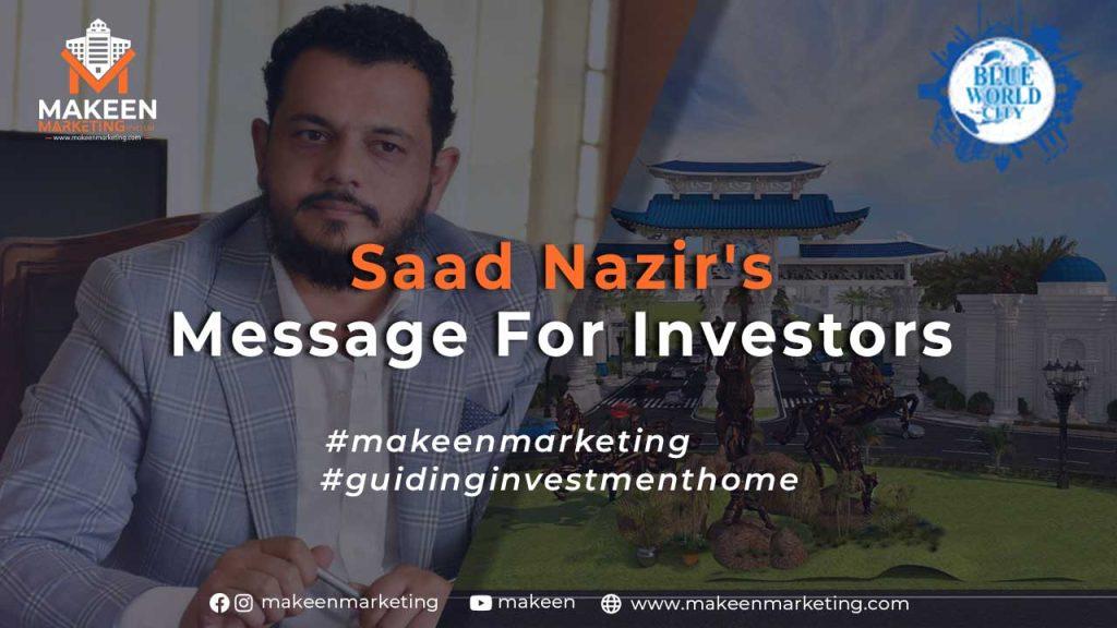 Saad Nazir's Message for Investors