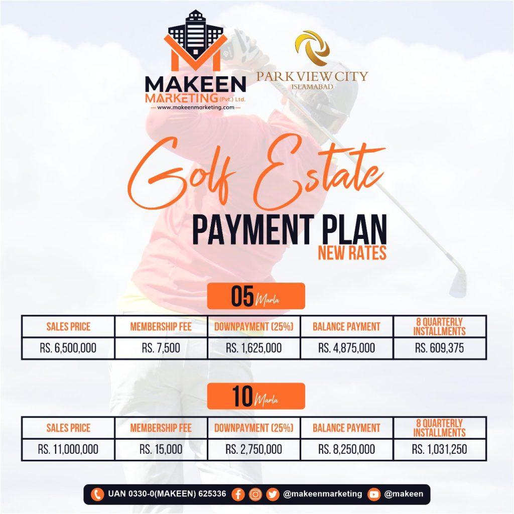 Golf Estate Payment Plan 2021